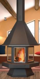 casa pasiva moncalvillo chimenea hexagonal centro para sala juegos